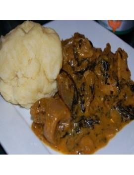 Poundo Yam + Bitter leaf Soup + 1 Goat meat