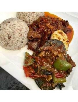 Ofada rice + sauce